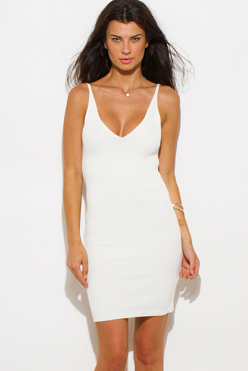 Cute cheap ivory white ribbed knit thin strap v neck open back fitted bodycon sweater midi dress