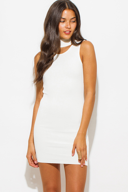 Cute cheap ivory white ribbed knit turtleneck cut out backless fitted  bodycon club mini dress