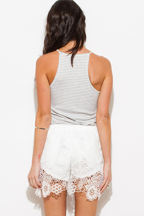 Cute cheap ivory white scallop crochet lace hem boho drawstring party shorts