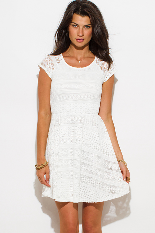 Cute cheap ivory white semi sheer lace cap sleeve fitted a line skater mini dress