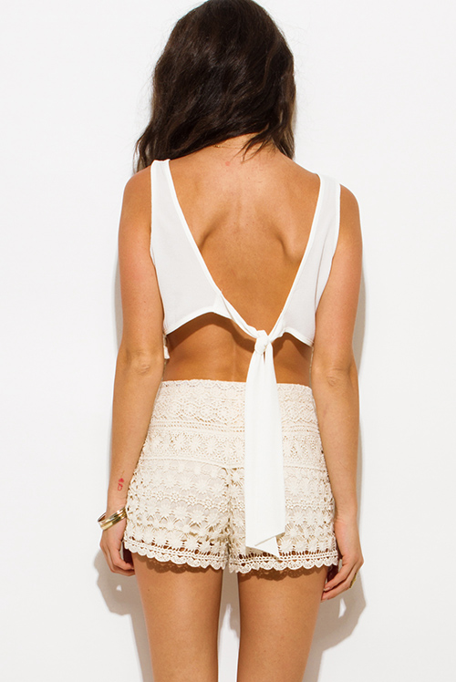 Cute cheap ivory white sequin tassel embellished sleeveless backless tie boho crop top