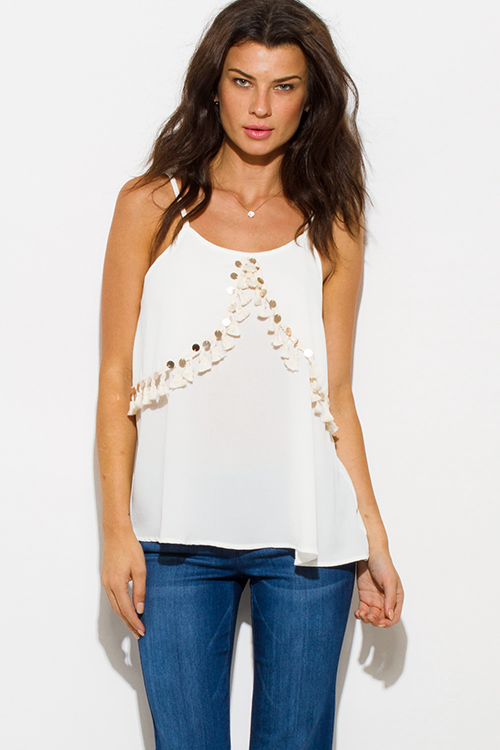 Cute cheap ivory white sequin tassel embellished spaghetti strap boho resort tank top