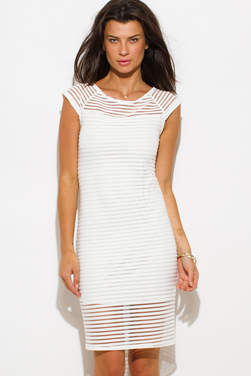 Cute cheap ivory white stripe mesh boat neck cap sleeve fitted evening party cocktail midi dress