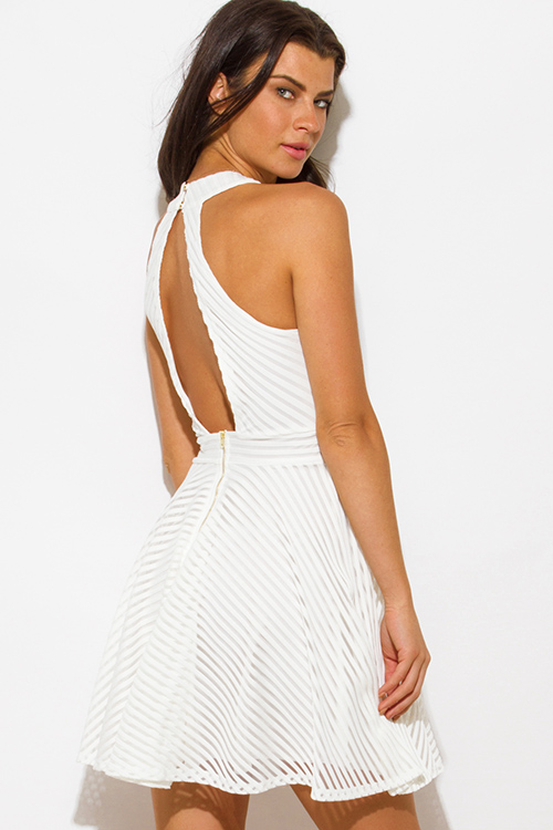 Ivory white stripe mesh halter cut out backless party mini dress