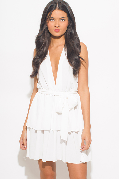 Cute cheap ivory white textured chiffon deep v neck sleeveless tiered cocktail mini sun dress