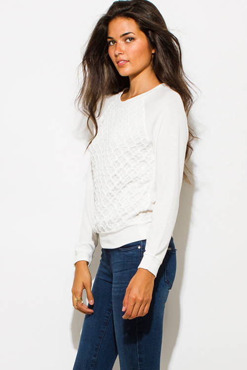 Cute cheap ivory white textured embellished crochet knit round neck long sleeve sweater top