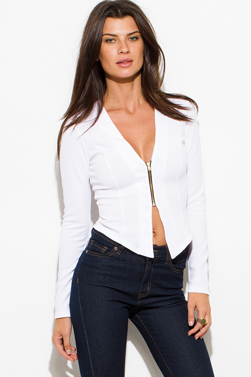Cute cheap ivory white textured long sleeve asymmetrical hem zip up fitted jacket top