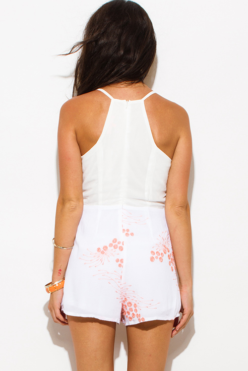 Cute cheap ivory white tiered coral pink embroidered v neck racer back boho party romper jumpsuit