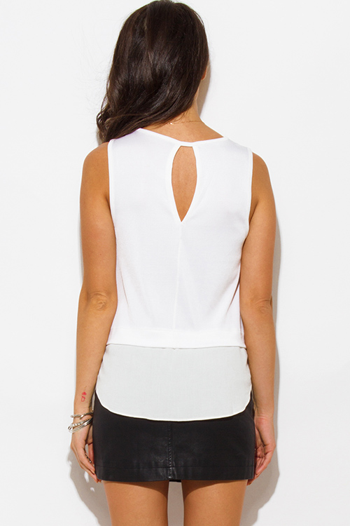 Cute cheap ivory white tiered knit chiffon contrast sleeveless blouse top