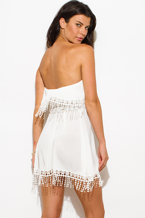 Cute cheap ivory white tiered strapless crochet fringe trim boho beach cover up tunic mini dress