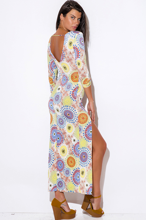 Cute cheap medallion print deep v neck high slit backless long sleeve summer evening resort maxi dress