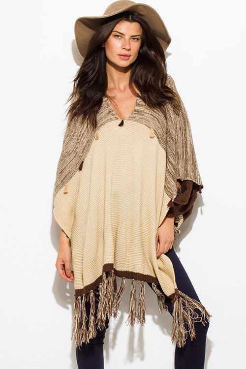 Cute cheap khaki beige brown v neck fringe tassel pullover poncho sweater tunic top
