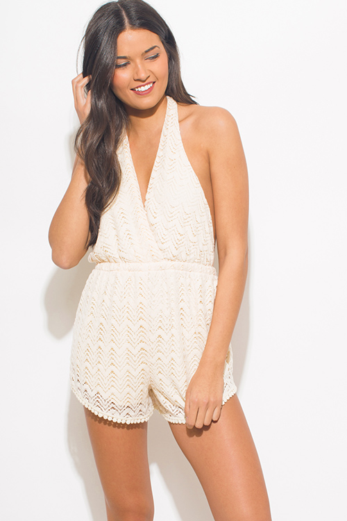 Cute cheap beige crochet lace halter faux wrap backless boho resort romper playsuit jumpsuit