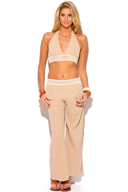 Cute cheap khaki beige crochet trim cotton gauze boho resort wide leg pants