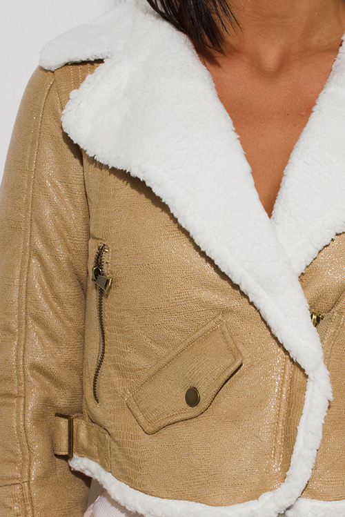 Cute cheap khaki beige faux fur collar vegan leather zip up biker moto jacket