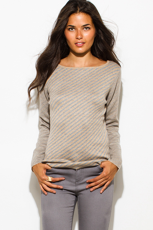 Cute cheap khaki beige fuzzy striped boat neck long sleeve sweater knit top