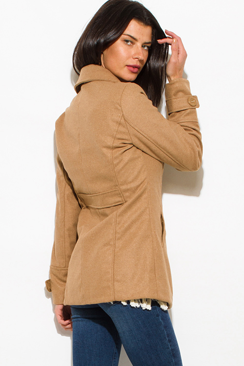 Cute cheap khaki beige long sleeve double breasted pocketed peacoat jacket
