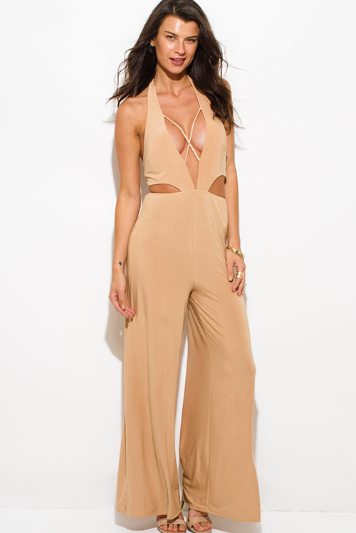 Cute cheap khaki beige low cut v neck halter criss cross cut out backless wide leg evening party jumpsuit