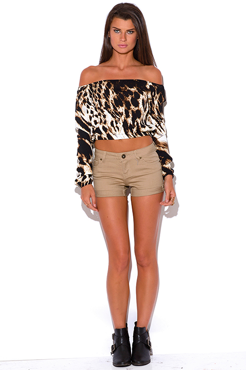 Cute cheap khaki rolled cuff mid rise shorts