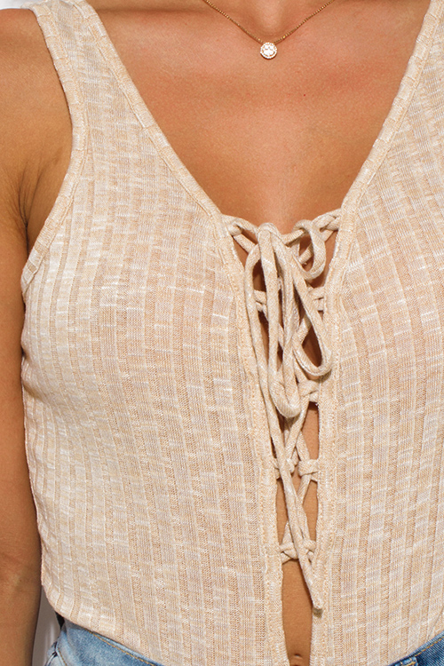 Cute cheap khaki beige ribbed knit sleeveless laceup club bodysuit top