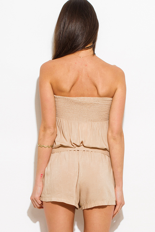 Cute cheap khaki beige strapless pocketed belted boho resort romper playsuit jumpsuit