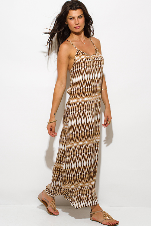 Cute cheap khaki brown abstract ethnic print backless bejeweled evening party maxi sun dress