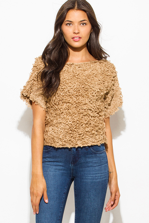 Cute cheap khaki camel beige textured boat neck wide short sleeve sweater knit crop blouse top