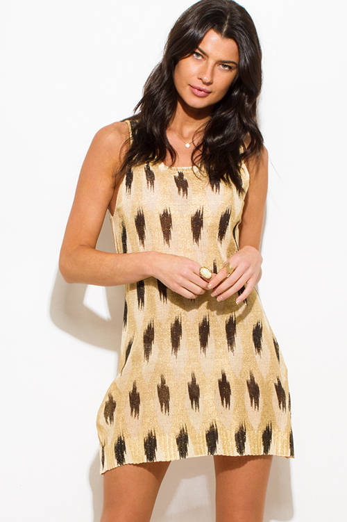 Cute cheap khaki gold metallic abstract ikat print sleeveless tunic top knit mini dress