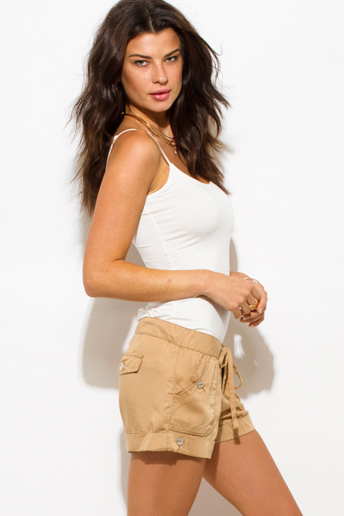 Cute cheap khaki tan tencel pocketed buttoned waist tie lounge cargo shorts