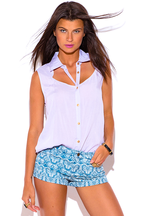 Cute cheap lavender purple cut out open back sleeveless blouse top