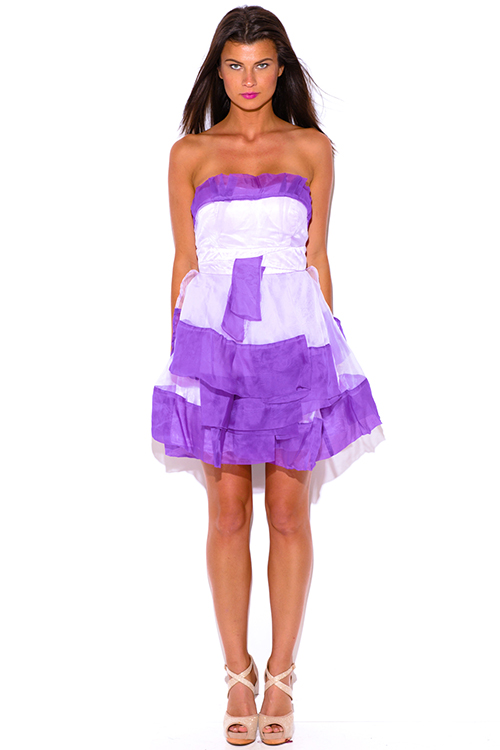 Cute cheap lavender purple organza ruffle strapless tafetta formal cocktail party mini dress