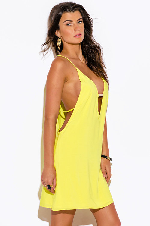 Cute cheap lemon yellow cut out bejeweled backless summer party mini sun dress
