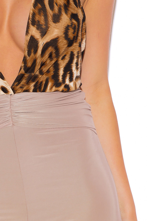 Cute cheap leopard animal print deep v neck backless beige wide leg evening party jumpsuit