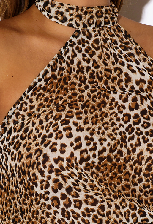 Cute cheap leopard animal print chiffon cut away asymmetrical high neck blouse party top