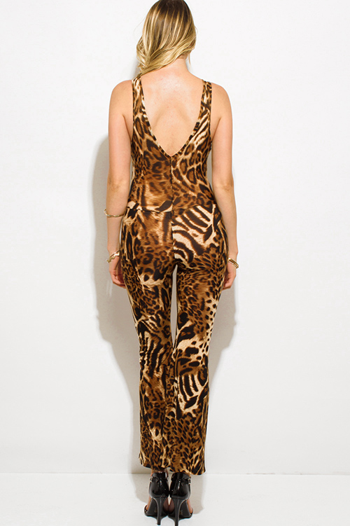 Cute cheap leopard animal print cut out heart backless wide leg party jumpsuit
