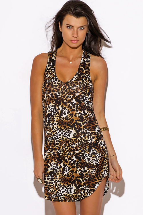 Cute cheap leopard animal print cut out racer back fitted club mini dress
