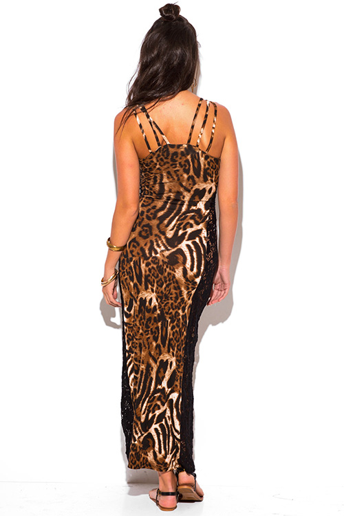 Cute cheap leopard animal print see through lace side fitted maxi sun dress