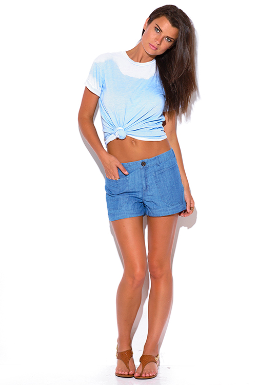 Cute cheap light blue chambray denim mid rise boxy boyfriend jean shorts
