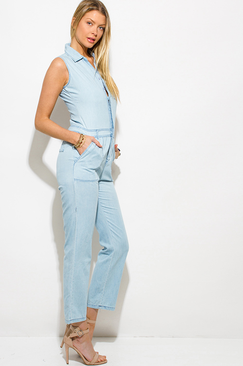 Cute cheap light blue chambray sleeveless button up pocketed utilitarian jumpsuit