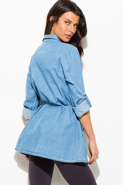 Cute cheap light blue denim button up sashed boho tunic blouse top