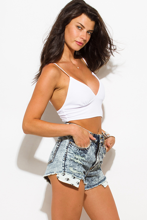 Cute cheap light blue denim washed high waisted distressed embellished graphic print pocket cutoff shorts