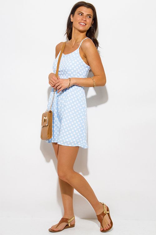 Cute cheap light blue polka dot a line laceup back boho mini sun dress
