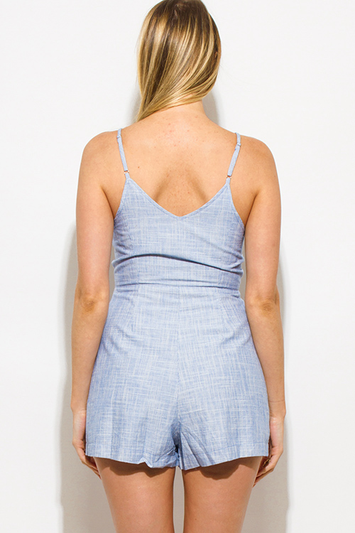 Cute cheap light blue two tone cotton v neck button up pocketed romper playsuit jumpsuit