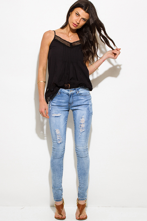 Shop light blue washed denim mid rise distressed fitted skinny jeans