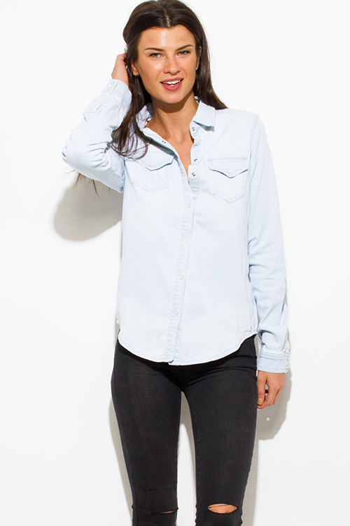 Cute cheap light blue washed denim quarter sleeve snap button up blouse top