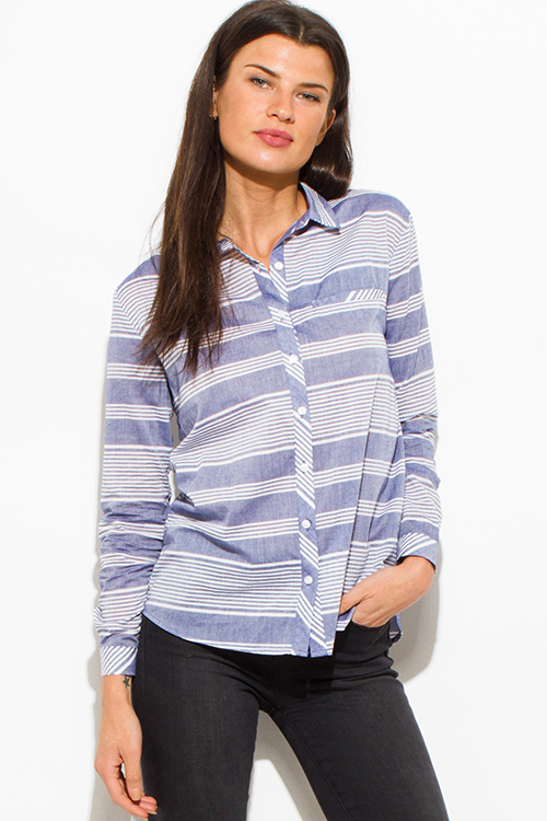 Cute cheap light blue white striped cotton button up blouse top