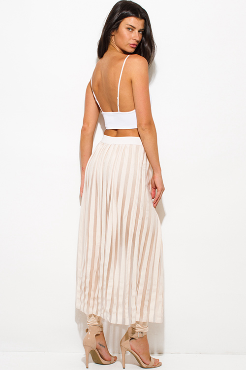 Cute cheap light blush beige stripe pleated mesh contrast leggings evening party maxi skirt