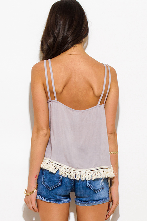 Cute cheap light gray cut out caged fringe trim spaghetti strap boho swing tank top