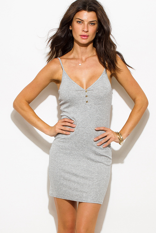 Cute cheap light gray ribbed knit v neck golden button spaghetti strap open back mini slip dress