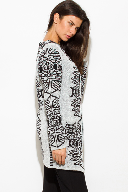 Cute cheap light heather gray black abstract print acrylic open front pocketed sweater knit long cardigan